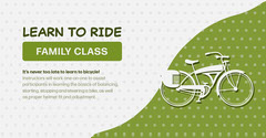 Green and White Riding Bike Class Facebook Cover Bike