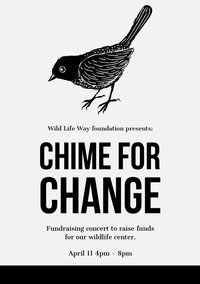Black and White Wildlife Center Fundraising Flyer with Bird Grassroot Movement Posters
