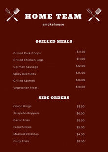 HOME TEAM BBQ Menu