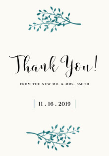 Double Green Branch Wedding Thank You Card Bryllupstakkekort