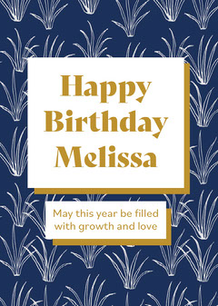 Blue and Gold Plant Pattern Happy Birthday Card Birthday