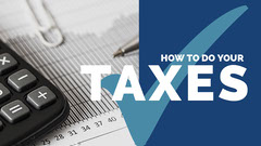 Blue and White Taxes Guide You Tube Cover Tax Flyer