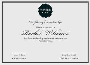 Black and Grey, Elegant Paradise Club Membership Certificate, Document Certificate of Membership