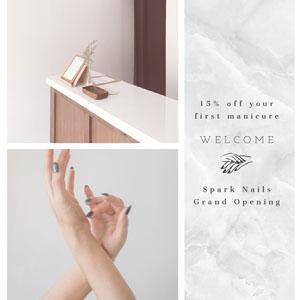 White and Grey Spark Nails Salon Advertisement Flyer für feierliche Eröffnung
