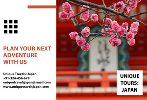 Japan Travel Brochure with Cherry Blossom Travel Brochure