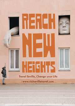 Orange Typography Seville Spain Travel and Tourism Ad Flyer with Landmark Building Travel Agency