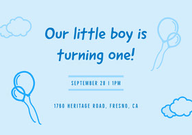 Blue Birthday Invitation Birthday Invitation (Boy)
