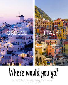 Greece or Italy Where would you go? Travel Social Story Italy