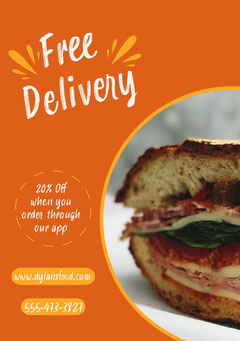 Orange Free Food Delivery Ad Flyer with Sandwich Photo Food Flyer