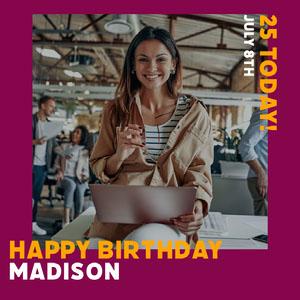 Purple Border Smiling Woman Photo Happy Birthday Instagram Square Happy Birthday Card Ideas