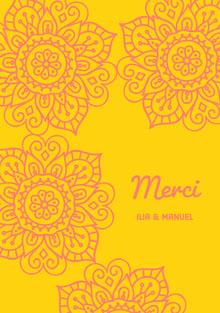 yellow and pink henna design thank you cards  Carte de remerciement de mariage