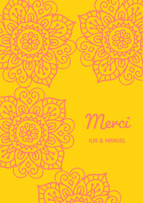 yellow and pink henna design thank you cards  Carte de remerciement