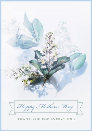 Blue and White Happy Mother's Day Card Mother's Day Messages