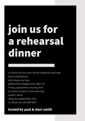 join us for a rehearsal dinner  Rehearsal Invitation