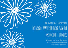 Blue and White, Light Toned Farewell Card Farewell