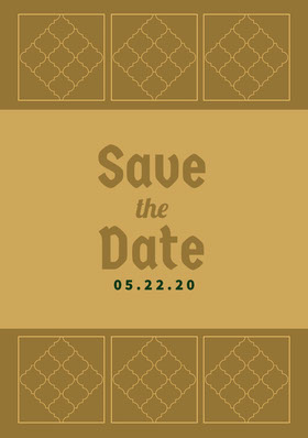 Gold Pattern Save the Date Wedding Card Save the date-kaart