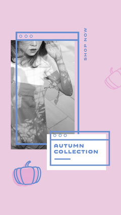 Pink and Blue Computer Frames Autumn Collection Instagram Story New Collection