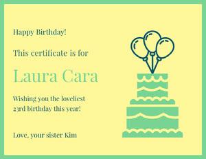 Laura Cara Birthday Certificate