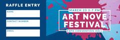 Blue Art Festival Raffle Ticket with Paint Splash Paint
