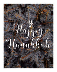 White and Grey Hanukkah Whishes Card Instagram Portrait Hannukkah