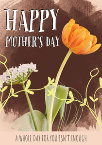 White With Yellow Tulip Mother's Day Card Mother's Day Card