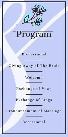 Blue Ampersand Wedding Program Border