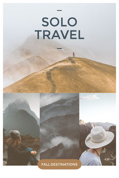 Warm Earthy Tones Autumn Solo Travel Destination Pinterest Graphic with Collage Fall