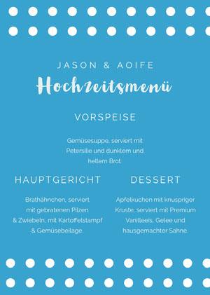 polka dot wedding menu  Menü