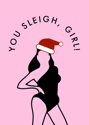 Pink Funny Christmas Card Fun Christmas Card Ideas