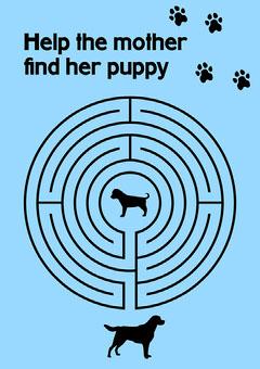 Blue Dog Themed Maze A4 Worksheet Sweet Home