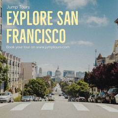 San Francisco Travel and Tour Instagram Square with Street Photo California