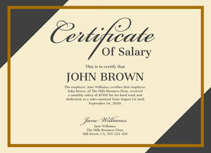 business salary certificate  Certificate