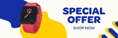 Blue Yellow White Special Offer Web Banner Tech
