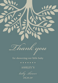 Blue Illustrated Thank You Baby Shower Card with Tree Baby's First Year