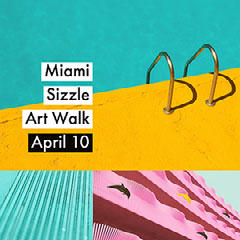 Miami Sizzle Art Walk Event Square Instagram Social Post Graphic with Collage Fish