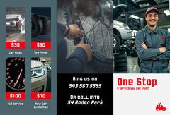 grey red black white car mechanics brochure Car Wash