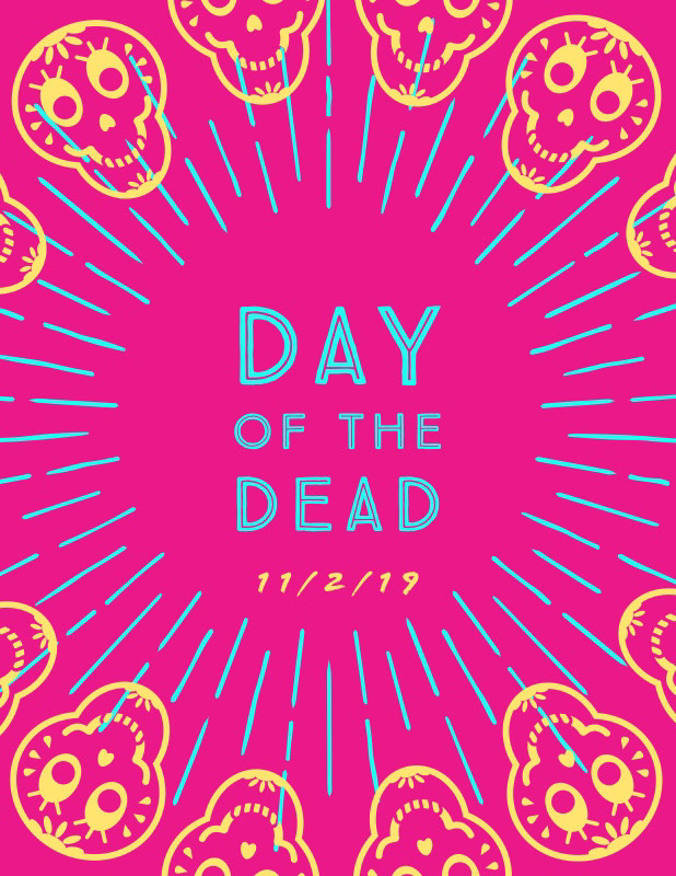 Pink Mexican Day of the Dead Flyer with Skulls Idées d'affiche