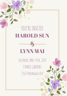 Colorful Flowers and Grey Wedding Invitation Bryllupskort