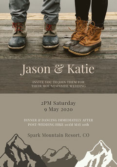 Grey With Shoes Wedding Invitation Rustic Wedding Invitation