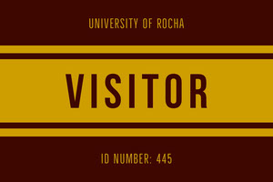Orange and Gold University Visitor ID Card Tarjeta de identificación