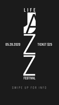 White and Black Life Jazz Festival Instagram Story Jazz