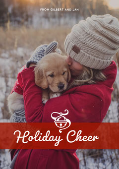 Red, White, Warm Toned Christmas Card Pets