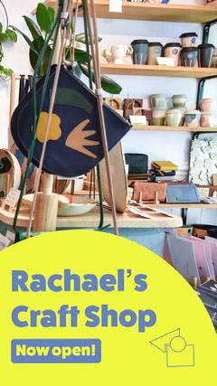 Yellow & Blue Craft Shop Instagram Story  Shopping