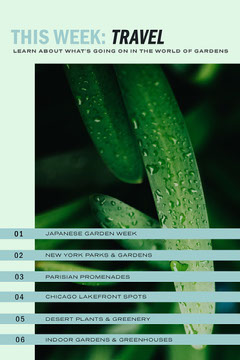Cyan and Green Garden Travel Pinterest Graphic with Plant Garden