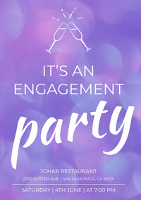 Purple Bokeh Engagement Party Invitation Card with Champagne Toast Boda