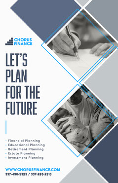 Grey and Navy Diamond Grid Frames 'Let's Plan For The Future' Poster Finance
