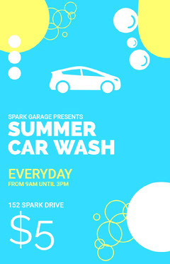 Blue, White and Yellow Summer Car Wash Offer Poster Car