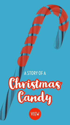 Blue and Red Christmas Candy Instagram Story with Candy Cane Holiday Card