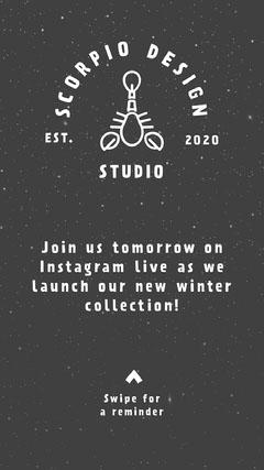 Black and White Design Studio Promo Instagram Story Launch
