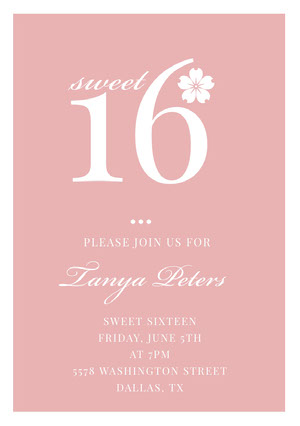 Pink Elegant Sweet Sixteen Birthday Invitation Card Sweet 16 Invitation